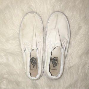 White Vans Classic Canvas Slip On Sneaker Size 7.5